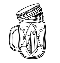 print with a beautiful jar of crystal and diamond vector image