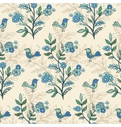 Retro floral background with flowers and birds vector image vector image