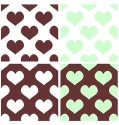 Seamless pastel hearts tile background set vector