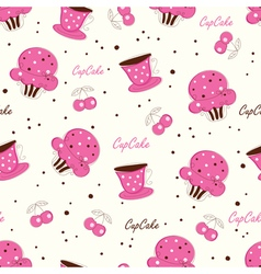 Seamless pattern with doodle cupcakes vector image