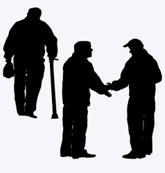 Silhouette of old people vector image