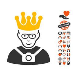 Thailand king icon with love bonus vector