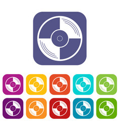 Vinyl record icons set flat vector