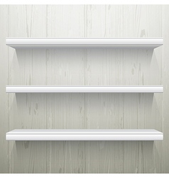 White wood background shelves vector