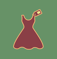 Woman dress sign with tag cordovan icon vector