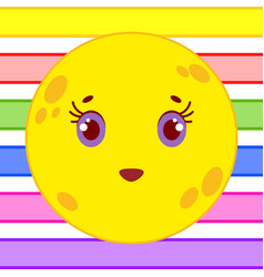 yellow yellow moon with a smile vector image vector image