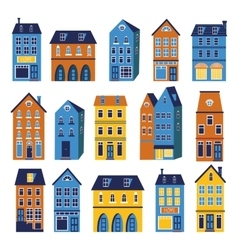 Cute houses colorful set vector