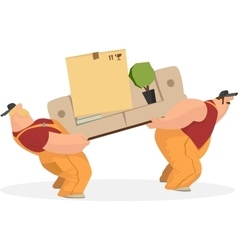 Two working men carry sofa a box of things the vector