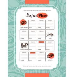 Delicious seafood - drawn template menu vector