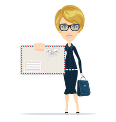 Woman in formal suit holding an envelope with a vector