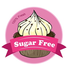 A sugar free label with a cupcake vector