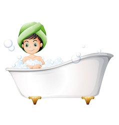 A young lady taking a bath vector