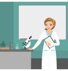 Affable chemist woman in the laboratory vector