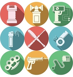 Color icons for self defence vector