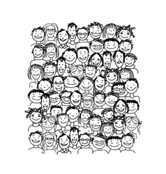 Group of people sketch for your design vector image