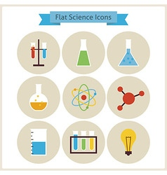 Flat school chemistry and science icons set vector