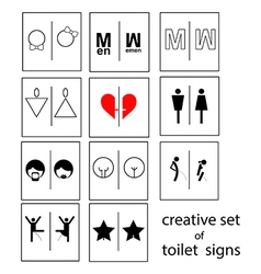 Creative set of toilet signs or restroom signs vector
