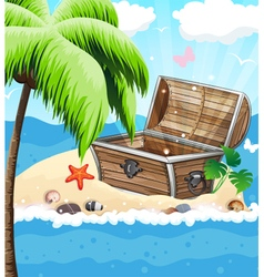 Treasure chest on sandy island vector