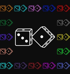 Dices icon sign lots of colorful symbols for your vector