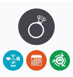 Ring sign icon jewelry with diamond symbol vector