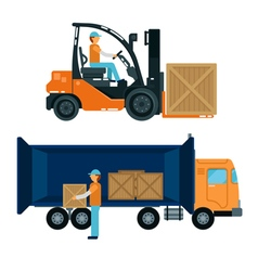 Forklift with driver worker loading containers vector