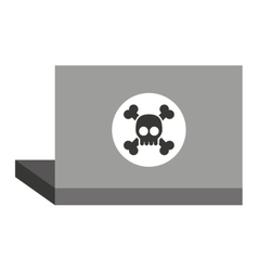 Laptop with alert skull isolated icon design vector