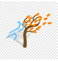 Autumn wind and tree isometric icon vector