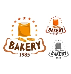 Bakery emblem with flour and wheat ears vector image vector image