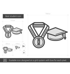 Best student line icon vector image vector image