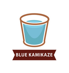 Blue kamikaze of long drinks in old fashion goblet vector