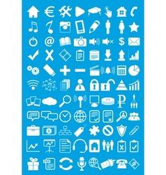 Blue webdesign flat icons set vector