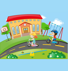 boy and girl cycling on road vector image