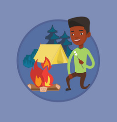businessman roasting marshmallow over campfire vector image vector image