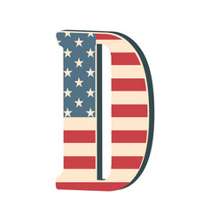 Capital 3d letter d with american flag texture vector