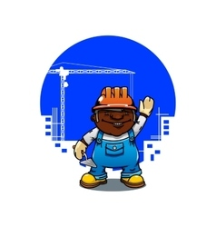 Cartoon bricklayer or builder with trowel vector