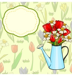 Cartoon watering can with bunch of spring flowers vector