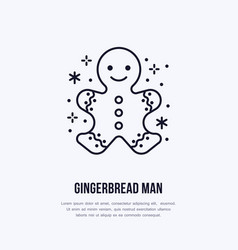 christmas new year gingerbread man flat line icon vector image