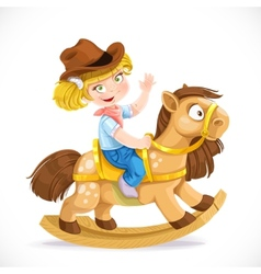Cute little girl sits on the toy rocking horse vector