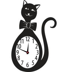 Cute wall clock cat sticker vector