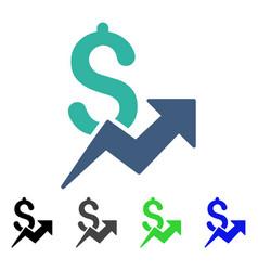 Dollar growth flat icon vector