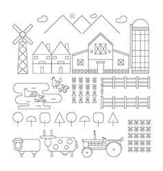 Farm line organic set vector image