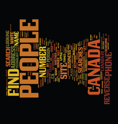 Find people in canada text background word cloud vector