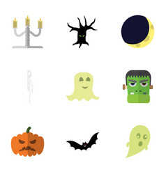 flat icon halloween set of candlestick monster vector image vector image