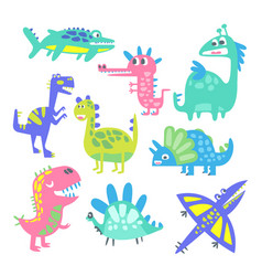 funny cartoon dinosaurs set prehistoric animal vector image