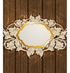 golden label and floral ornament vector image vector image