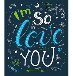 hand drawn romantic poster with handwritten vector image