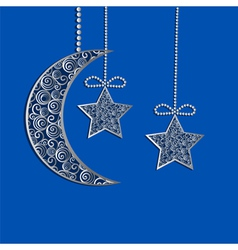 Hanging decoration filigree lace moon and stars vector
