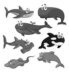 icons of sea ocean fish cartoon animals vector image