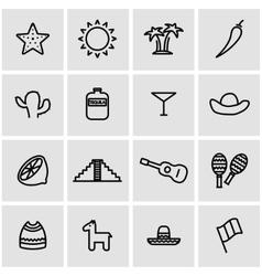line mexico icon set vector image