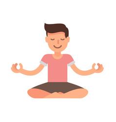 Man meditating in lotus yoga vector